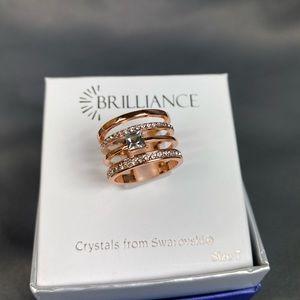 Brilliance Rose Gold Swarovski Stacked Ring Size 7
